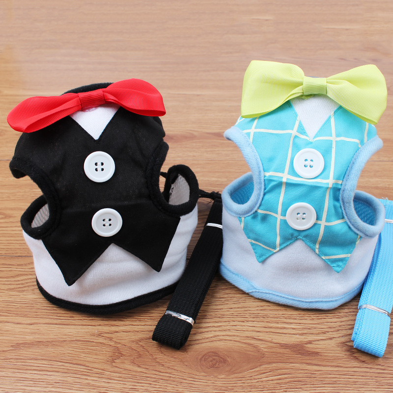 60sets New Fashion Bowtie Tuxedo Dog Harness & Leash Set Easy Walk Mesh Vest Harness For Boy Dogs Black Blue S M L WA1903