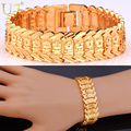 U7 Flower Bracelet Pattern New Trendy Yellow Gold Plated Unisex Jewelry 20CM 10 MM Wide Chain Bracelet Gift H494