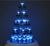2018 new arrival stainless stell Birthday party supplies wedding 5 layer Champagne tower for table decoration