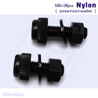 M8 16mm 25mm 3 Kinds 12pcs Nylon Hand Tighten Screws High Strength Slotted Combined Bolt Plastic