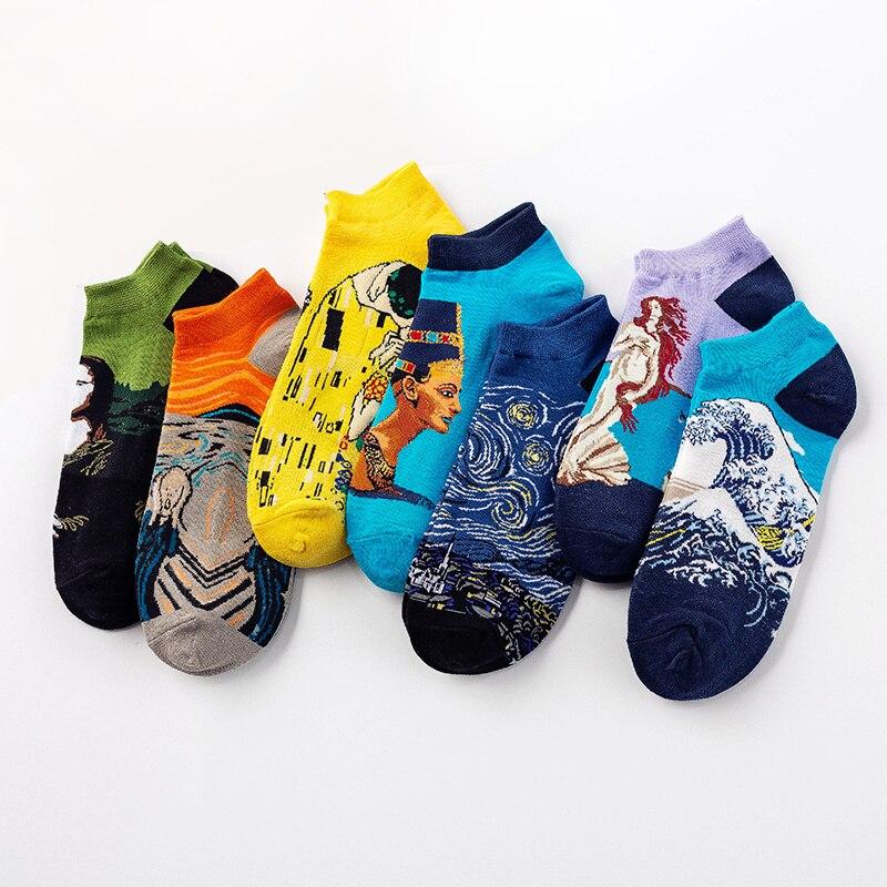 Dreamlikelin Vintage Art Painting Short   Socks   Unisex Women Men Mona Lisa Van Gogh Starry Night Artistic Streetwear Ankle   Socks