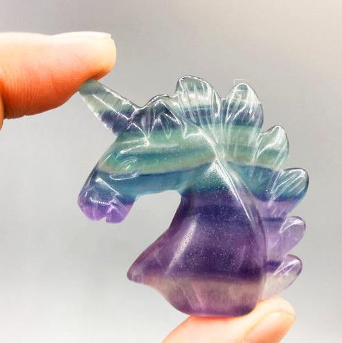 ¡Nueva llegada! AAAA Natural Cristal de GEMA de cristal de fluorita de unicornio estatua Decoración