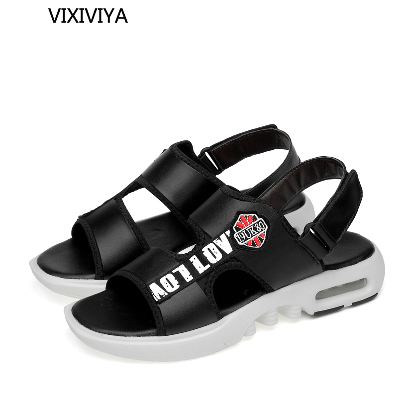 2018 new mens sandals summer platform casual shoes man fashion breathable sandals for men black and white leather beach sandals