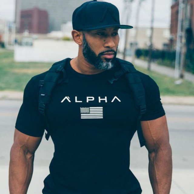 ALPHA 2018 New Brand Clothing Gyms Tight T-shirt Mens Fitness T-shirt Homme Gyms T Shirt Men Fitness Crossfit Summer Top Tees 1