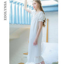 2019 Women Fashion Sleepwear Lantern Sleeve Bow Solid White Cotton Brief Style Vintage Night Dress Long Nightgown Negligee T96(China)