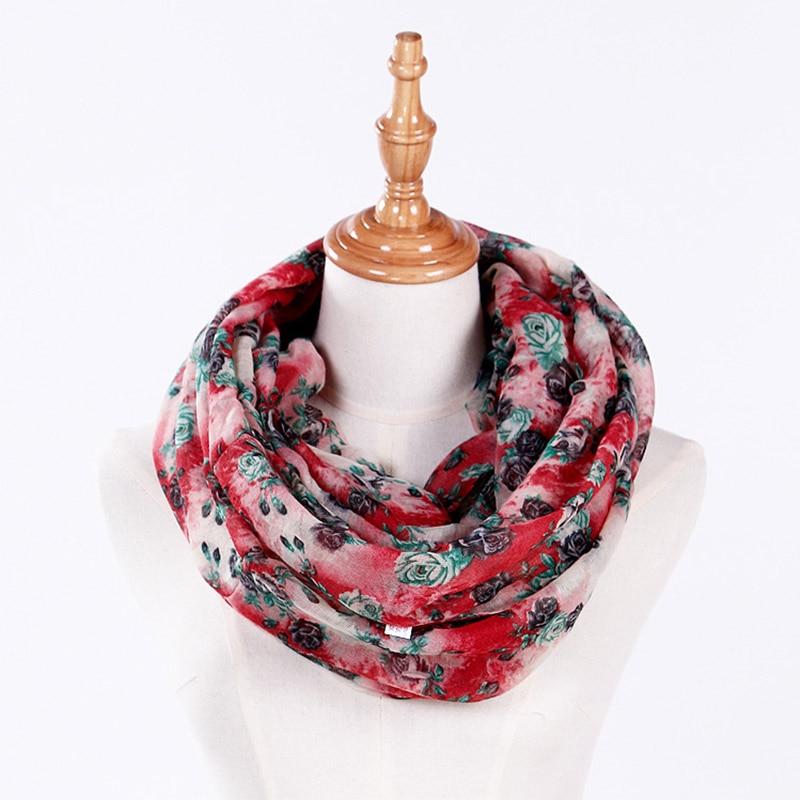 LNRRABC Fashion Women Scarf Ladies Flower Chiffon Pashmina Autumn Long Neck Scarf Shawl Wrap Hijab Womens Scarves Drop Shipping