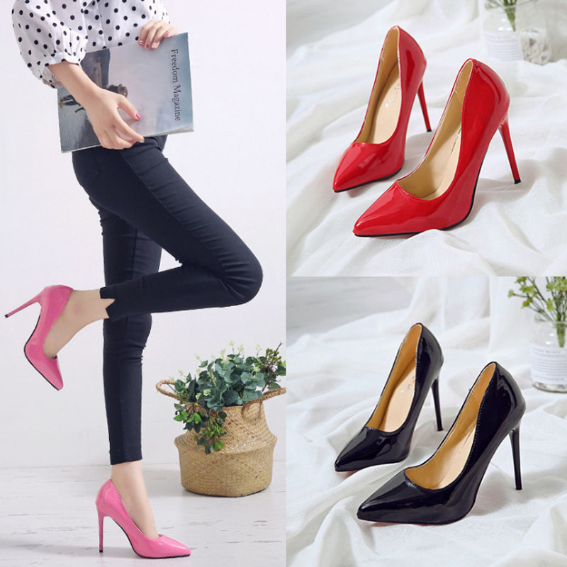 VTOTA Plus Size 44 Sexy Pointed Toe High Heel Pumps Slip On Shallow Wedding Party Thin Heels Woman Shoes Red Chaussures Femme in Women 39 s Pumps from Shoes