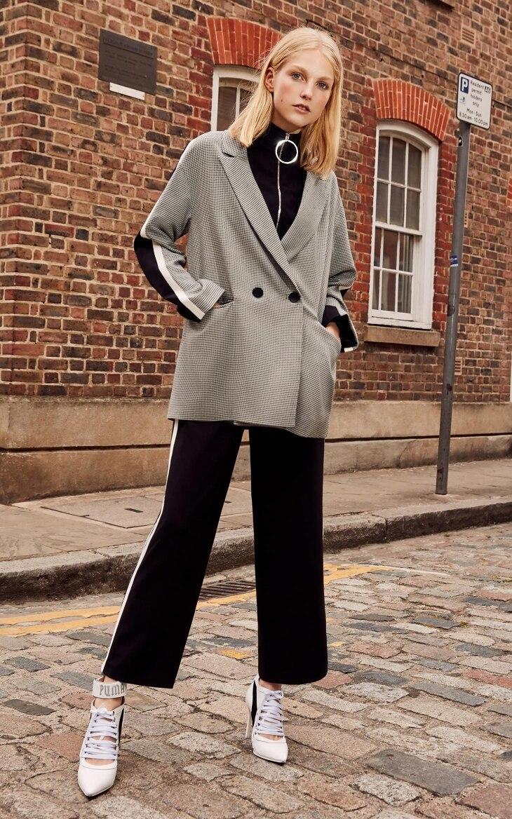 Vero Moda 19 New Stripe Splice Knitted Houndstooth Suit Jacket Plaid women Long Blazer 318308536 10