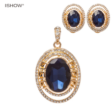 Fashion Bridal Jewelry Sets Blue Austrian Crystal Gold Jewelry Set Colar Feminino Earrings Set Luxury Vintage