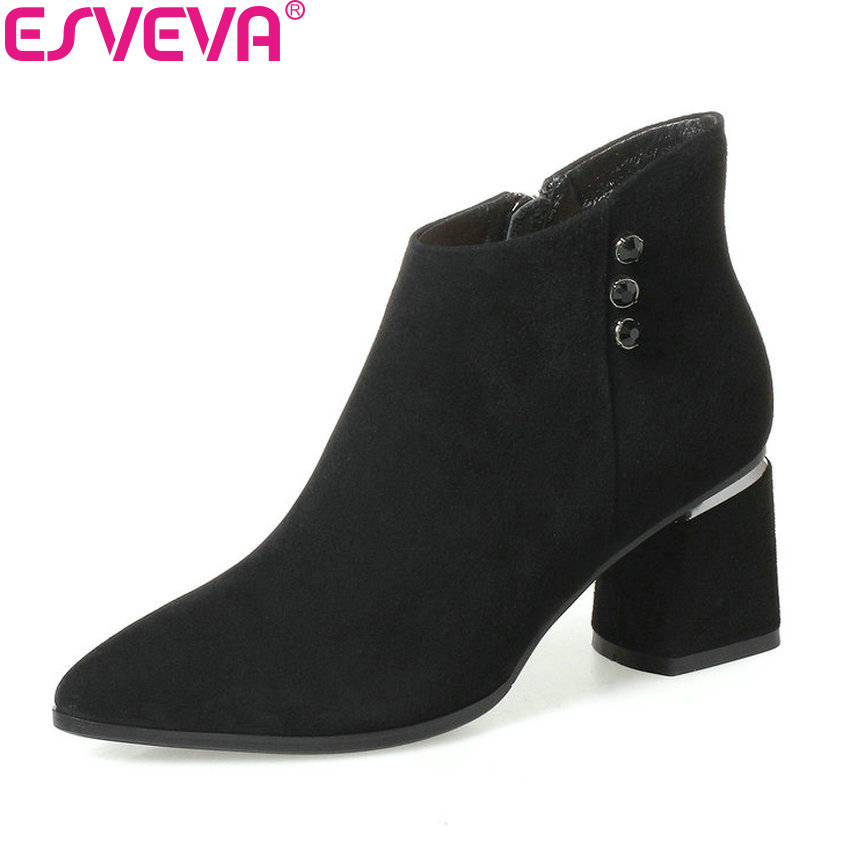 все цены на  ESVEVA 2018 Women Boots Buckle Real Leather + PU Spring Autumn Shoes Square Heel Ankle Boots Fashion Ladies Boots Size 34-39  в интернете
