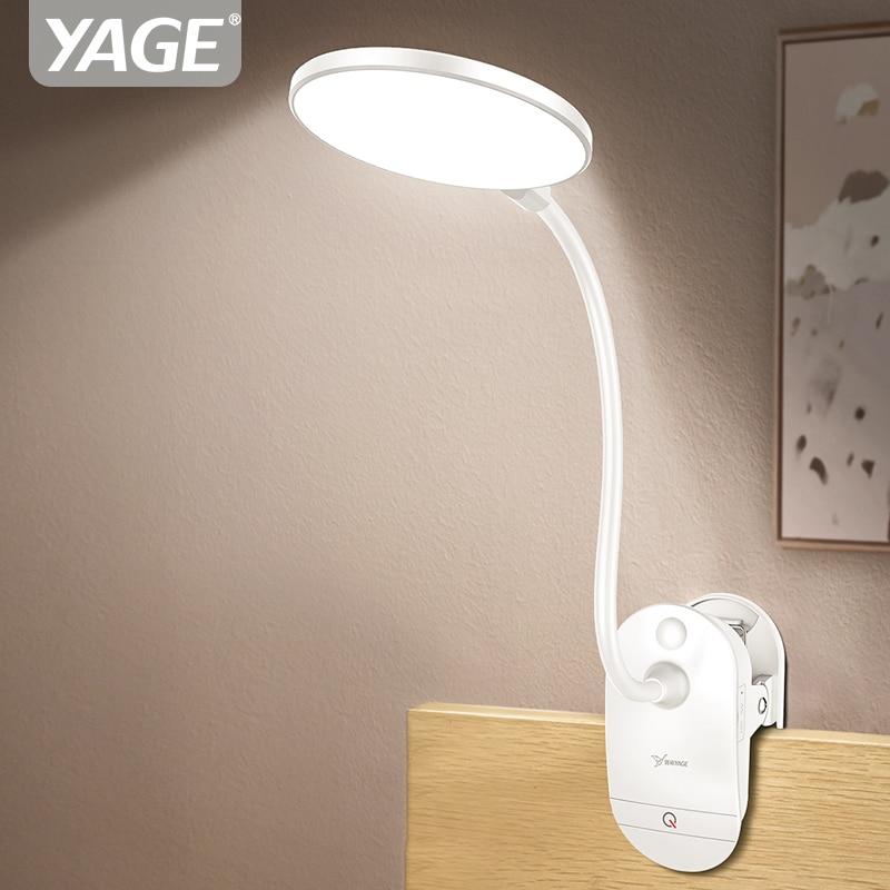YAGE T101 Tactile On/off 3 Modes Clip Bureau Lampe 7000 k Protection Des Yeux Lecture Gradateur 18650 Rechargeable USB Led Lampes de Table