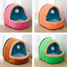5 Colors Foldable Dog Bed With Toy Ball