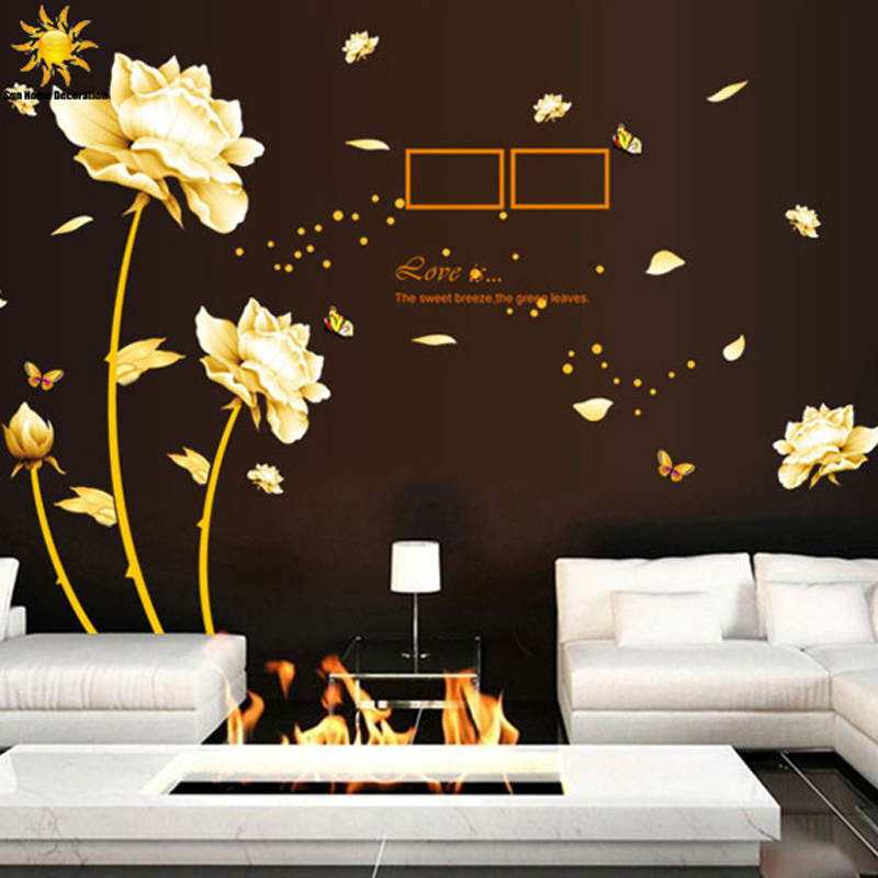 Buy removable golden homecoming flowers for Deco mural stickers