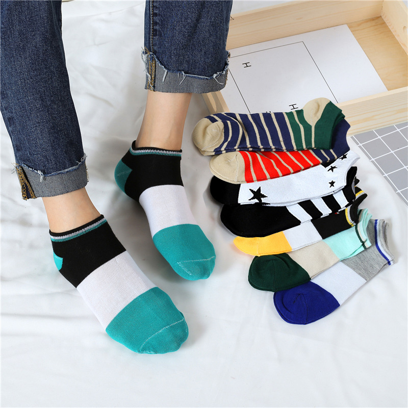 SALE 1Pair Men Comfortable Invisibility Ankle   Socks   Popular Cotton Breathable Striped Star Short No Show   Socks