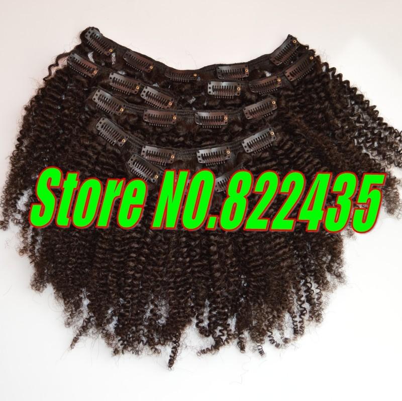 100% Brazilian Human Hair Clip in Hair Extensions 6pcs Set 100-125g Brazilian Virgin Kinky Curly Hair Weave Full Head_conew1