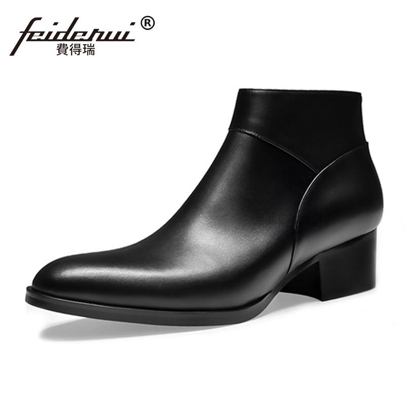 купить Fashion Formal Dress High-Top Man Handmade Riding Shoes Genuine Leather Pointed Toe Med Heels Cowboy Men's Ankle Boots SS65 недорого
