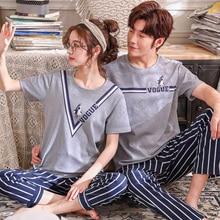 Couple Pajama Sets Summer Sleepwear 100%Cotton Striped Pajamas Short Top+Long Pants 2 Pieces Set Lovers Homewear Plus Size M 3XL