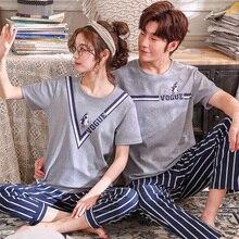 Paar Pyjama Sets Sommer Nachtwäsche 100% Baumwolle Gestreiften Pyjamas Kurze Top + Lange Hosen 2 Stück Set Liebhaber Homewear Plus größe M 3XL