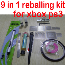 9 в 1 BGA Reball станция+ 5 шт. для xbox+ 3 шт. тепловые прямые трафареты для PS3+ припой шары+ ручка на присоске
