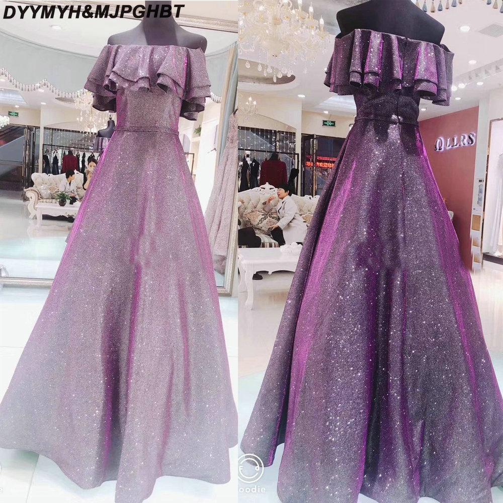 Elegant Glitter Purple Long Evening Dresses Off Shoulder Boat Neck Floor  Length Fashion Prom Gowns 2019 cd1cf11a0553