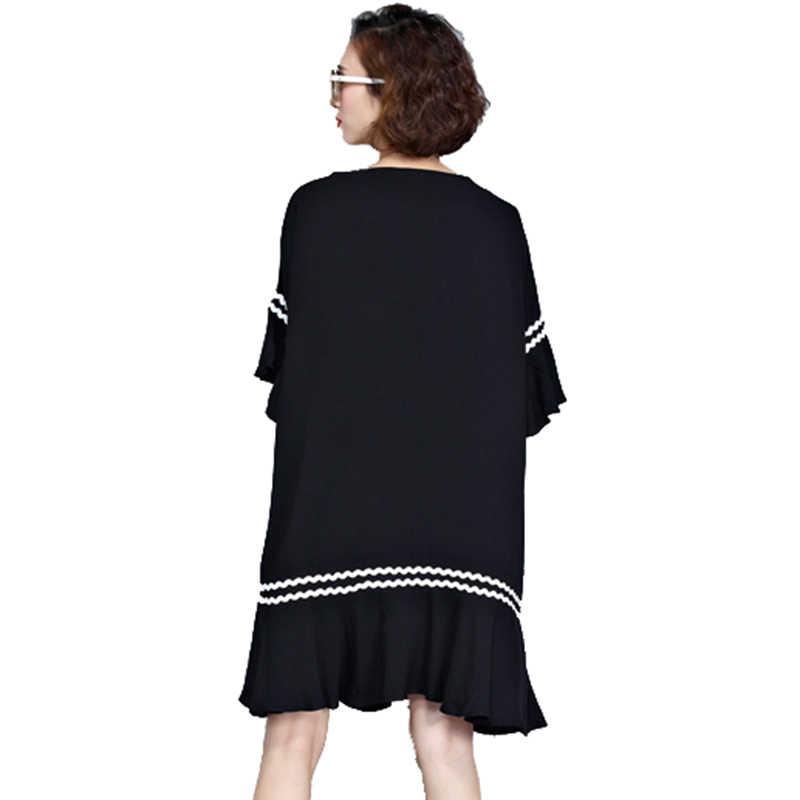 Oladivi плюс размер одежда для женщин короткий рукав повседневные свободные топы футболки 2017 летняя длинная рубашка туника женское платье Черный Vestido