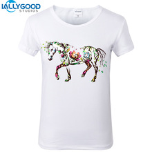 2017 New Summer Women T-Shirts Horse Flower 3D Print Short Sleeve O-Neck Slim White Fashion T shirt Girl Casual Tops S302