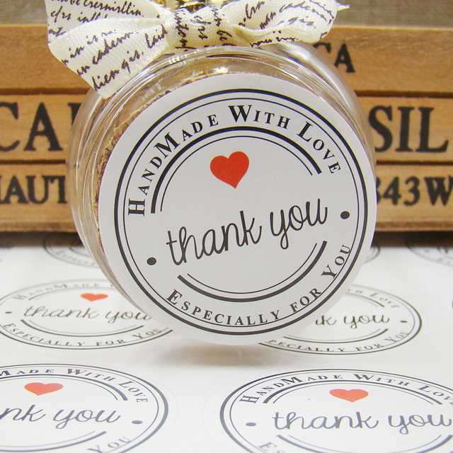 600pc white kraft paper thank you gift seal label stickers handmade with love