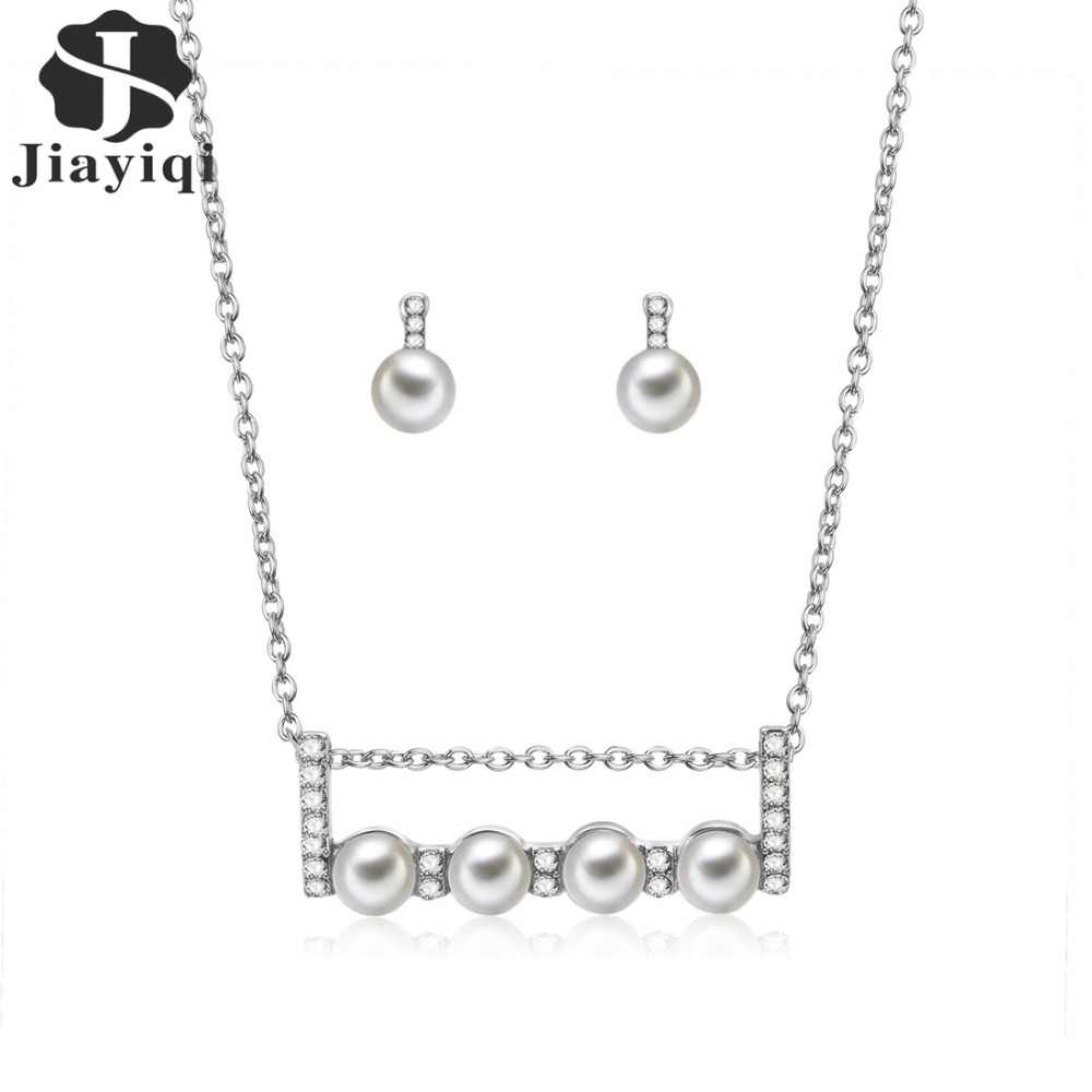 Jiayiqi Women Sparkling Rhinestone Crystal Pearl Necklace Earrings Set Charm Wedding Bridal Jewelry Set Charms Jewelry Gifts