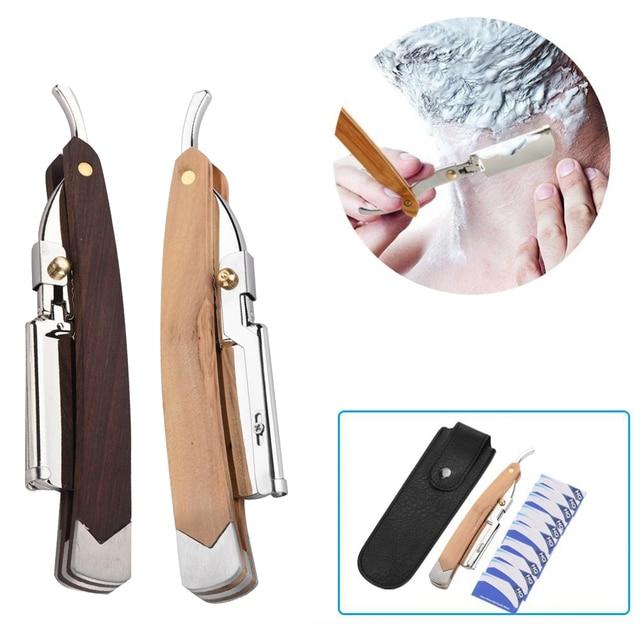 Retro Wood Handle + 10pcs Blade Head Shaving Razor Folding Shaver Male Face Cleansing Care Tools 1