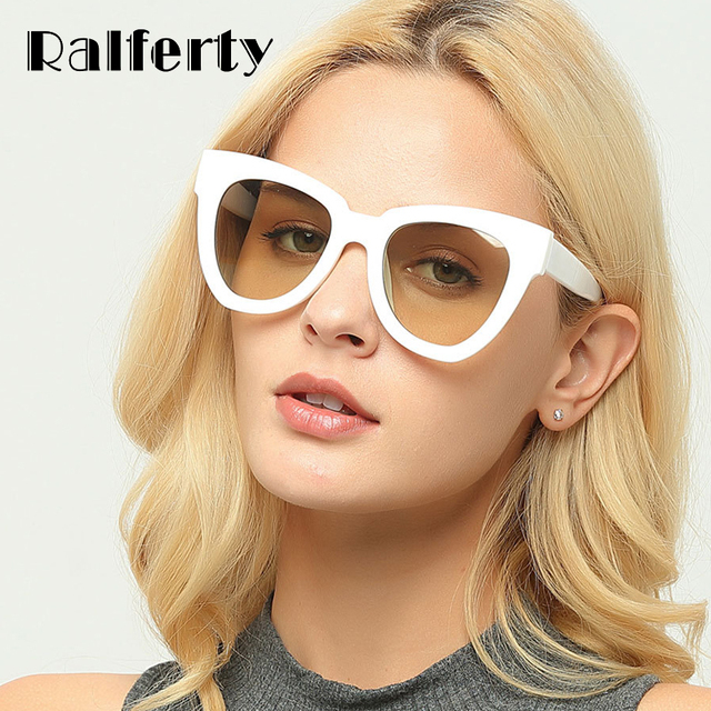 f8ad57b54f1c Ralferty Stylish Cat Eye Sunglasses Women Vintage Cateye Sun Glasses Female  White Plastic Frames Sunglass Shades Oculos X1310
