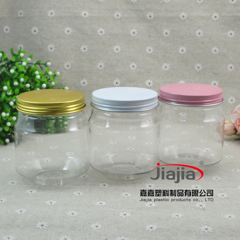 wholesale 50pcs/lot 300ml Storage Tank Plastic Can ,300g PET Jar with Golden white or pink Lid ,Food Container Plastic Tank Pot