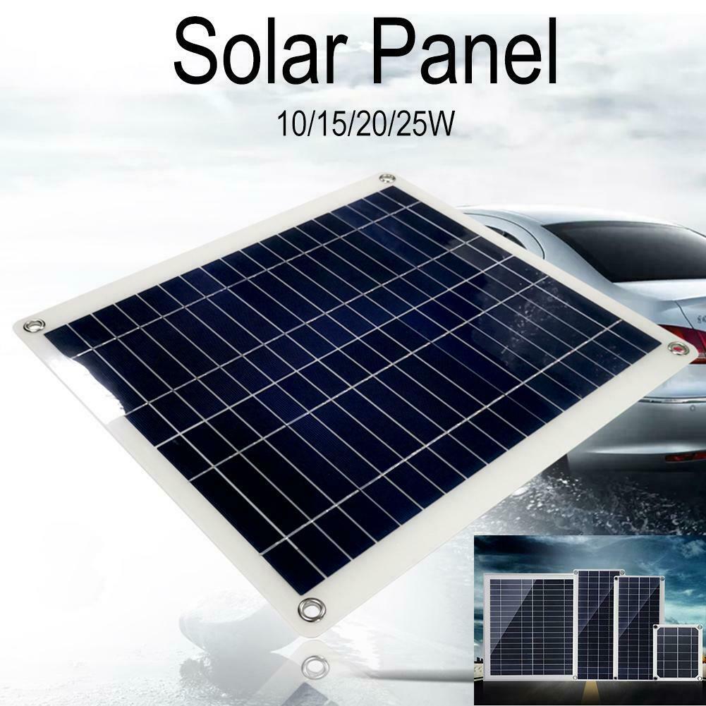 10/15/20/25W Watts Monocrystalline Solar Panel 0A Solar Charger+DC Line 5V USB Output Devices Portable Solar Panels