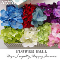 50PCS silk hydrangea flower heads photography 20 colors artificial wedding fake flower decoration home hotel background