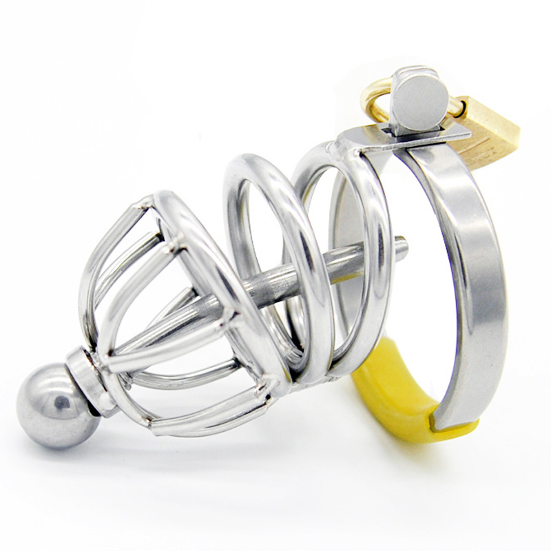 Chastity cage with stainless steel penis plug male penis stimulation sex toys cock cage dick lock bondage 38/42/48/52mm ring.