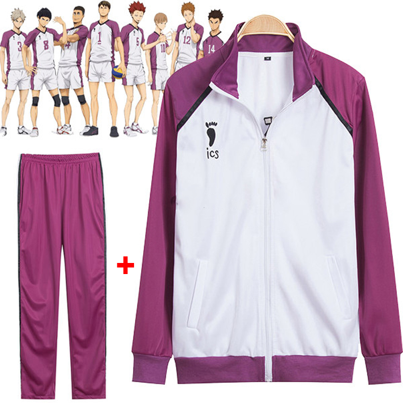 Anime Tee! TEMPORADA 3 Shiratorizawa Gakuen Wakatoshi Ushijima Cosplay Uniforme Traje Chaqueta Sportswear(Jacket + Pants)