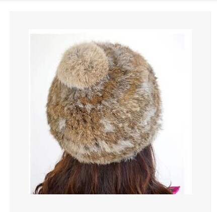 8a47d8587dd Free shipping Big rabbit hair ball male and female rabbit fur hat fur hat  beret ms baotou hat parent-child model
