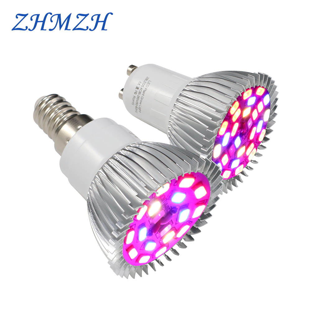 220V LED Growing Light Bulb Aluminum Shell E27 E14 GU10 Full Spectrum 18LEDs 28LEDs Growing Lamp For Medicinal Plants Growth