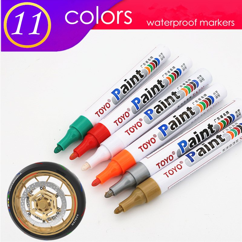1pcs  colorful marker waterproof lasting white markers tire tread rubber fabric paint metal face Permanent toyo Paint Marker Pen 1
