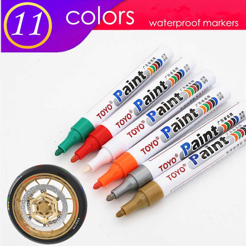 1pcs colorful marcatore impermeabile duratura bianco marcatori pneumatico battistrada in gomma vernice del tessuto del viso in metallo Permanente toyo Pennarello Vernice