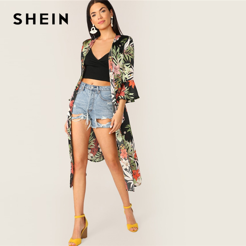 SHEIN Multicolor Waist Knot Bell Sleeve Belted Tropical Print Kimono Women Spring Three Quarter Length Sleeve Streetwear Kimono