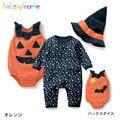 3PCS/0-24Months/Halloween Style Newborn Baby Girls Boys Rompers Clothes Pumpkin Bodysuit+Jumpsuit+Hat Infant Clothing Set BC1004