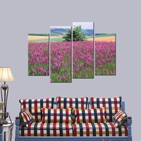 Modern Beautiful Flowers Scenery HD Giclee Prints Painting Artwork Purple Floral Pictures To Photo Paintings On