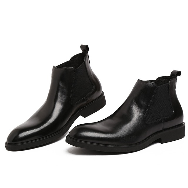 fashion brown black mens ankle boots genuine leather