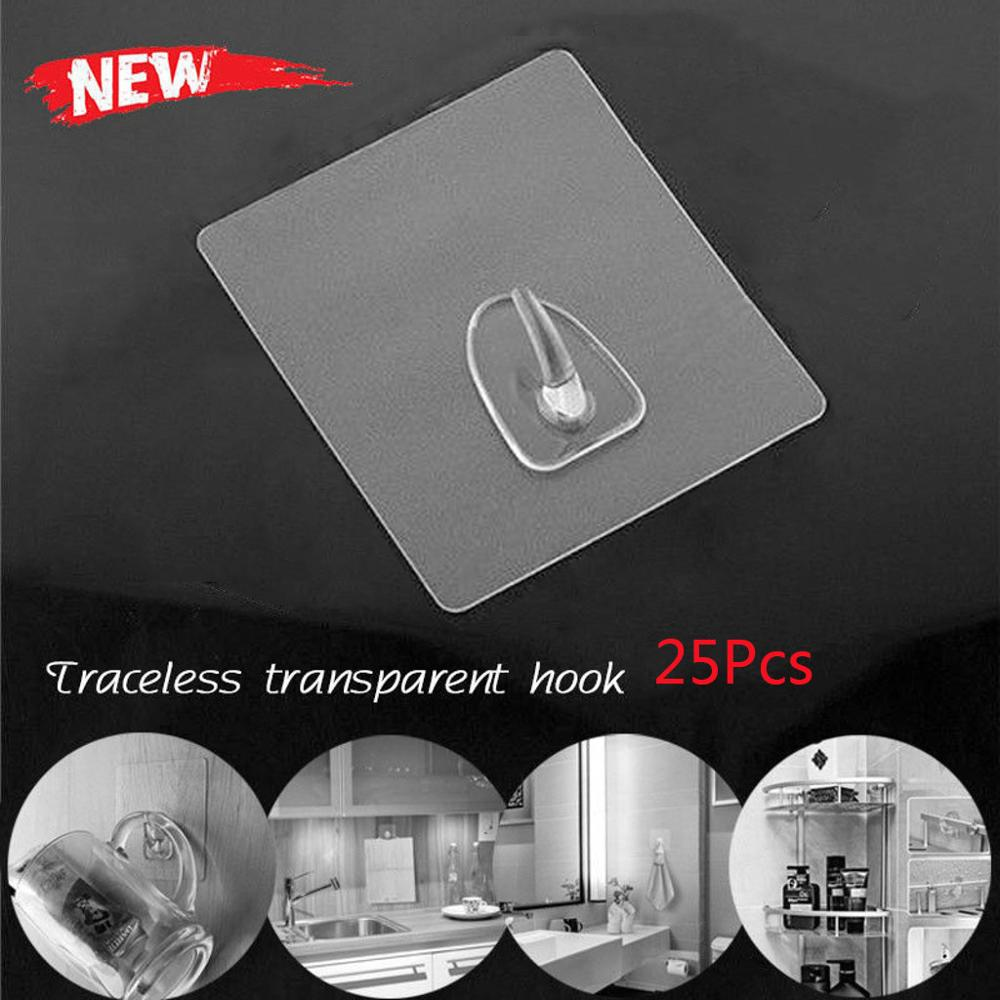 2-25pc Anti-skid Hooks Reusable Transparent Traceless Wall Hanging Cup Sucker Strong Home Kitchen Hooks For Bathroom Wholesale/C