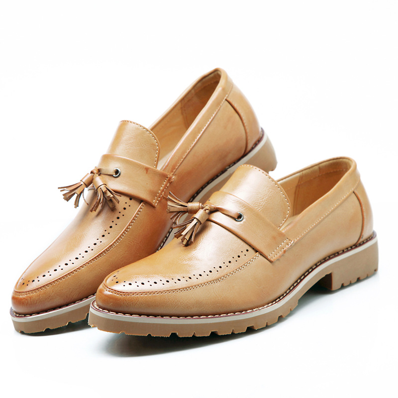 Men Oxford Shoes British Style Design Men Brogue Business Casual Leather Shoes Slip on Tassel Men Flats Fashion Breathable Shoes branded men s penny loafes casual men s full grain leather emboss crocodile boat shoes slip on breathable moccasin driving shoes