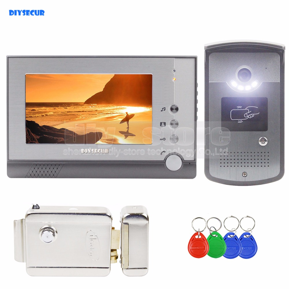 DIYSECUR Electric Lock 7 inch TFT Color LCD Display Video Door Phone Visual Intercom Doorbell ID Unlocking RFID Camera video phone intercom with door rfid electric lock intercom camera video doorbell for 6 apartments 7inch color tft lcd monitor