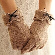 Модные элегантные женские шерстяные перчатки с сенсорным экраном, зимние женские теплые кашемировые кожаные перчатки с бантом, вышитые перчатки A29