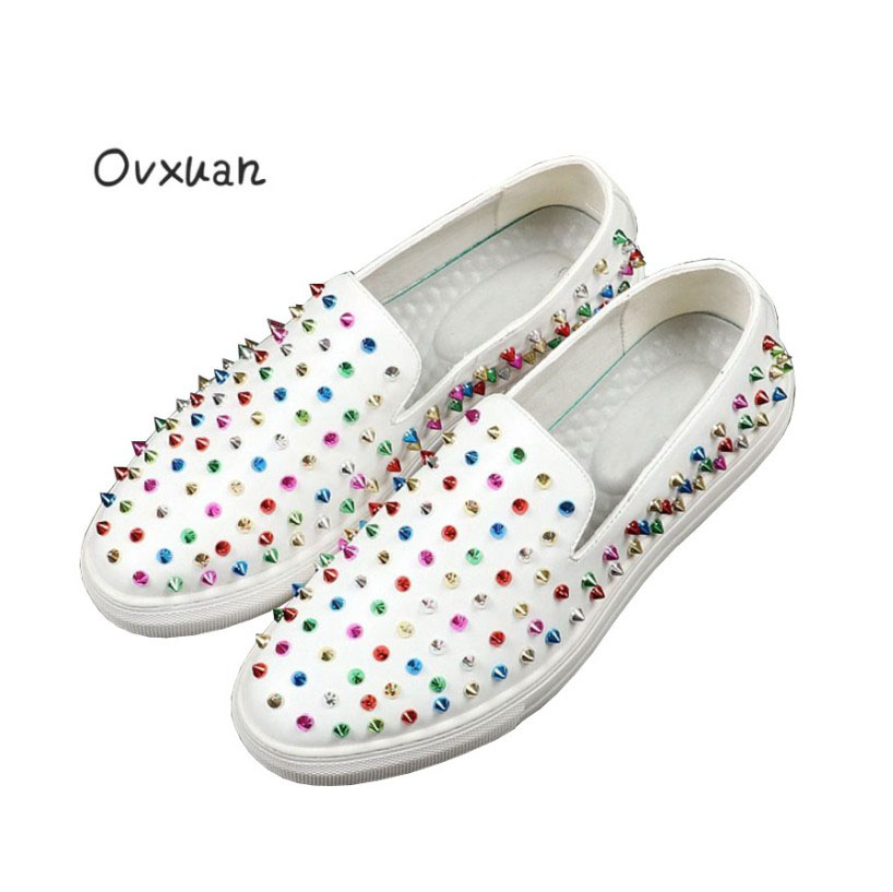 Ovxuan Men loafers CL same design Colorful rivets surface Prom and Banquet Wedding Dress man flats Spiked Loafers Rivets shoes