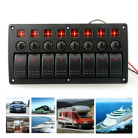 Plastic Panel Switch with Red Single Bar Switch Combination Panel with PCB and Overload Protector for Yacht Ship RV