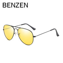 BENZEN Night Driving Glasses Yellow Sunglasses Men Avaition Male Sun Glasses Driver Driving Mirror Glasses With Case 9219
